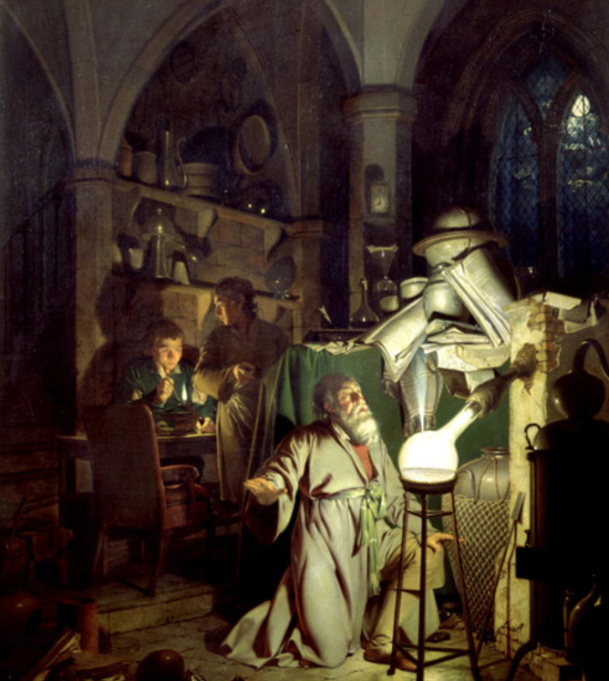 (L'alchimista che scopra il fosforo, Joseph Wright of Derby, 1771. Derby Museum and Art Gallery, Derby)